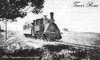 Locomotora Krauss y su Tren, por la llanura de Fuencarral, Nótese a la Derecha de la Imagen, La Ermita de San Roque.-
