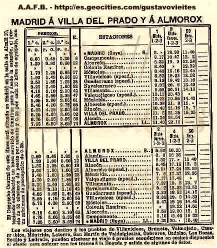 Horario de 1915,la línea con todas sus Estaciones y Apeaderos.-