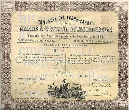 Participación de 500 Pesetas, correspondiente a la COMPAÑIA DEL FERROCARRIL DE MADRID A SAN MARTIN DE VALDEIGLESIAS, (