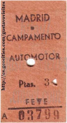 Billete del Ferrocarril de Almorox hasta Campamento